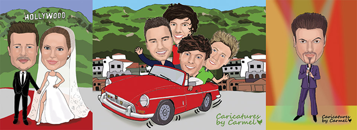 Celebrity caricatures with One Direction & George Michael