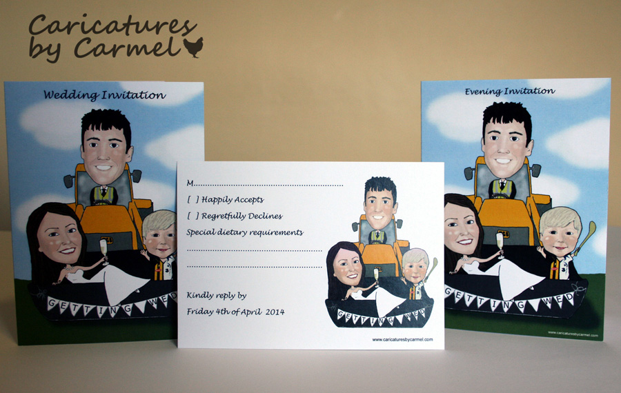 Caricature square wedding invitation and Mass booklet. Designed and printed in Ireland