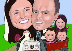 Wedding Caricature of Colm & Linda in a tractor and the 3 children in a trailer in the back.