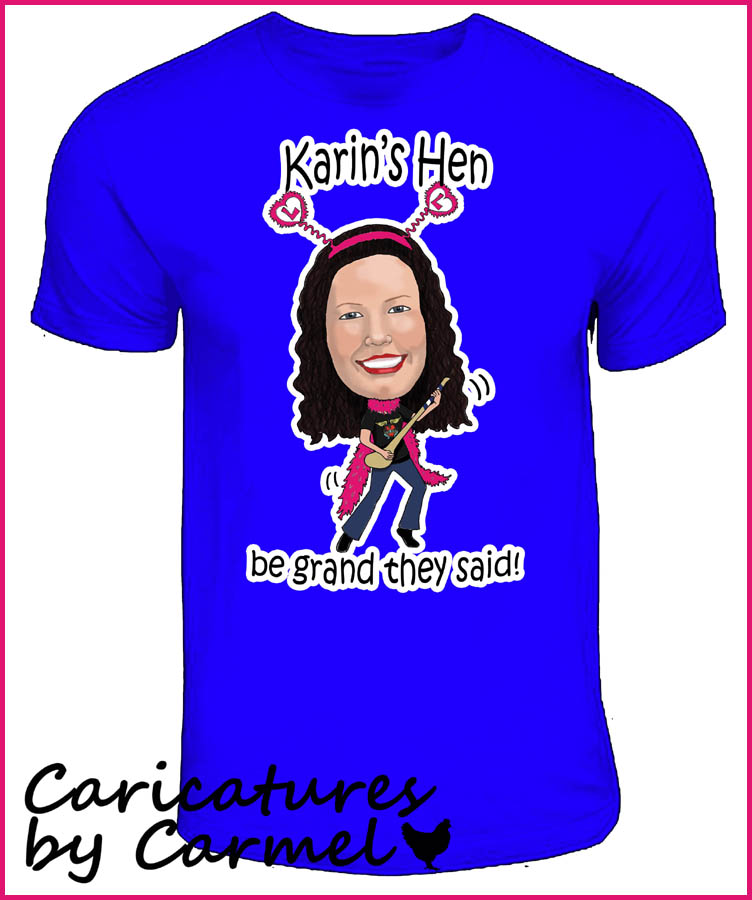Caricature design printed on Tshirt for a Hen party weekend group.