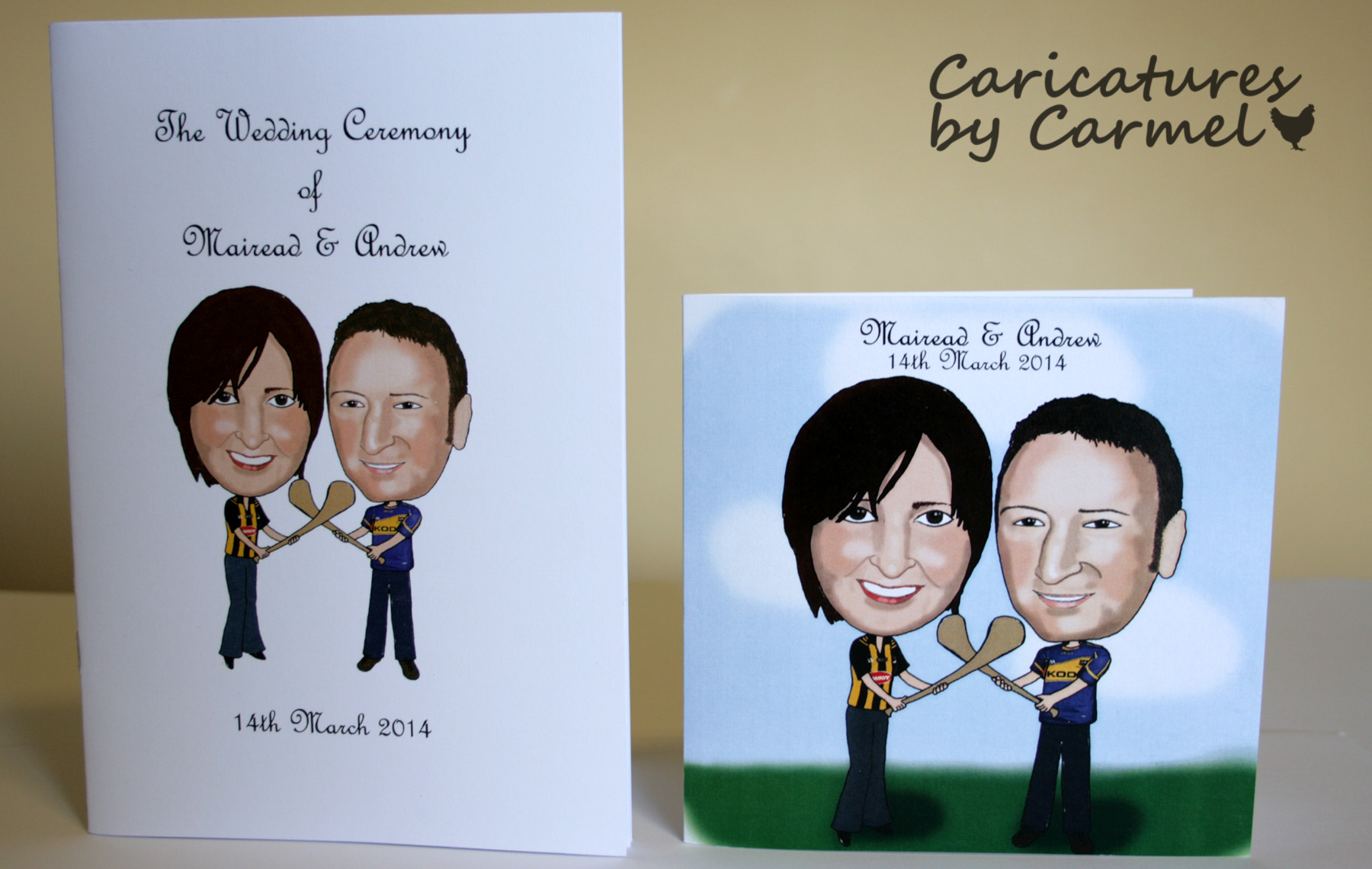 Caricature Wedding Invitation and Mass Booklet created by Caricatures by Carmel for Mairead & Andrew