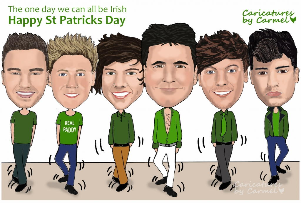 Paddys day caricature caricature of simon cowell and one direction irish dancing voltagebd Images