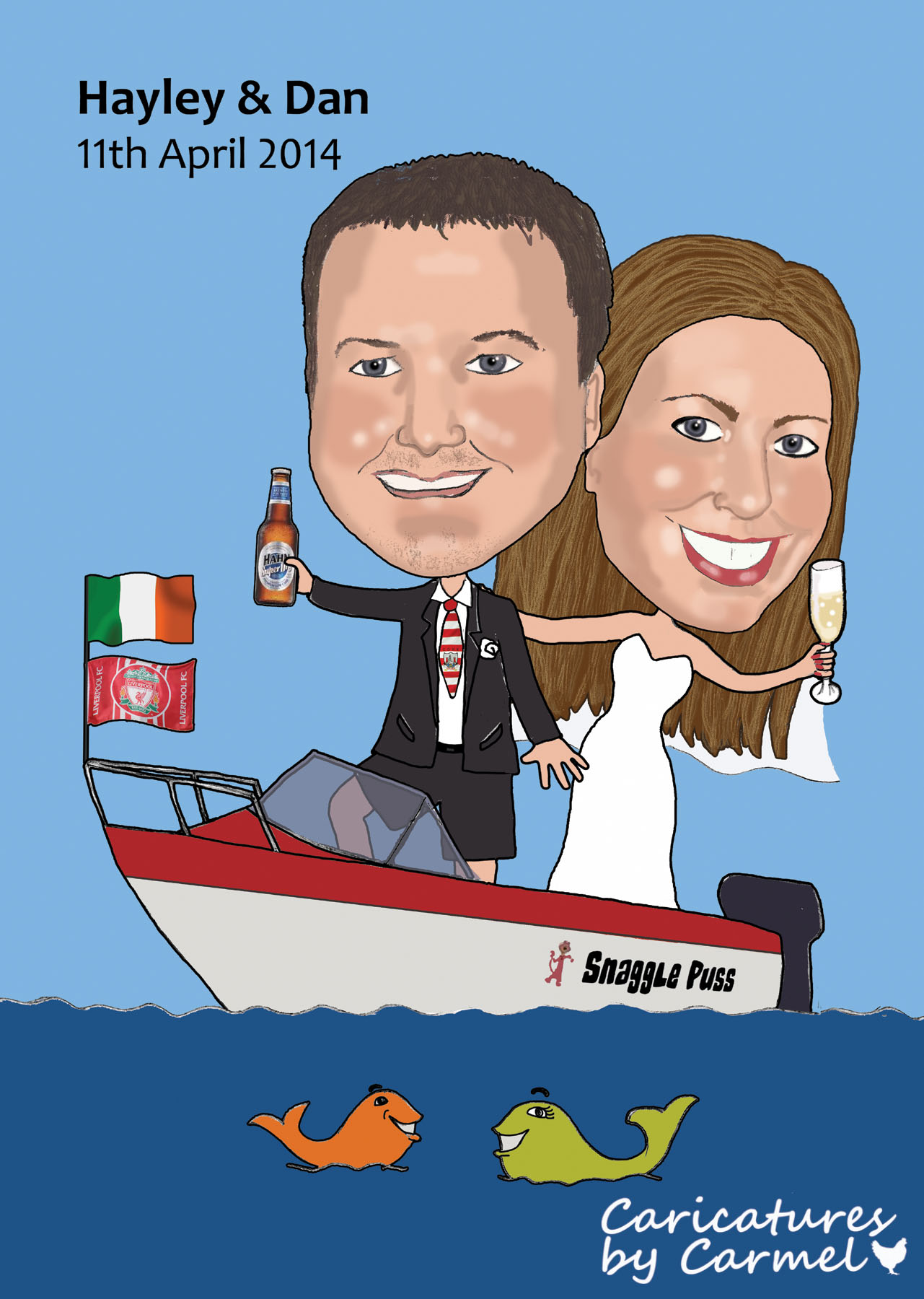 Caricature of Hayley & Dan with their boat Snagglepuss
