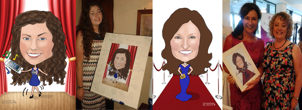 Caricatures for guest signing boards and a caricature of Celia Holman Lee as a gift
