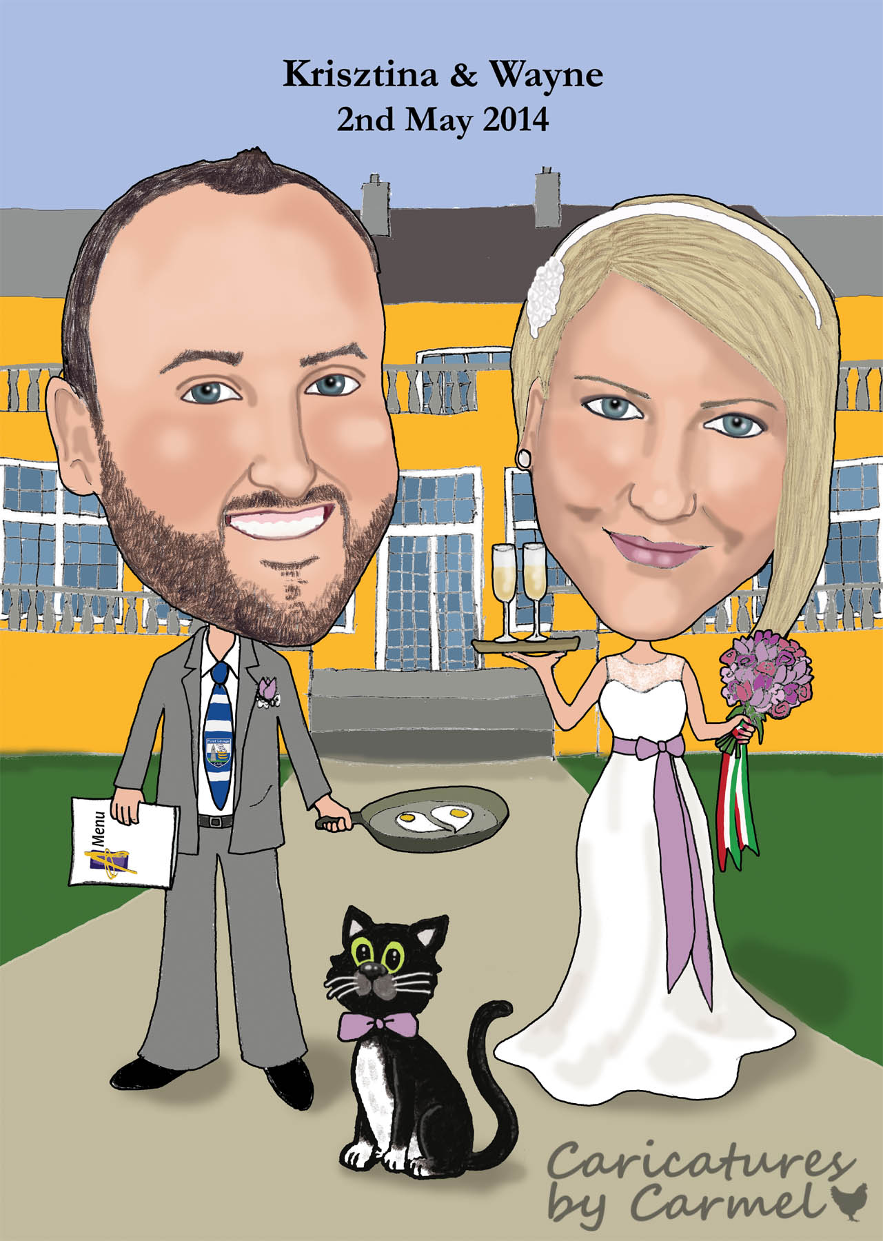 wedding caricature for a couple getting married in athenaeum house hotel waterford