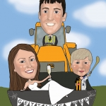 Wedding Caricature with groom driving a JCB and a bride and son in the bucket.