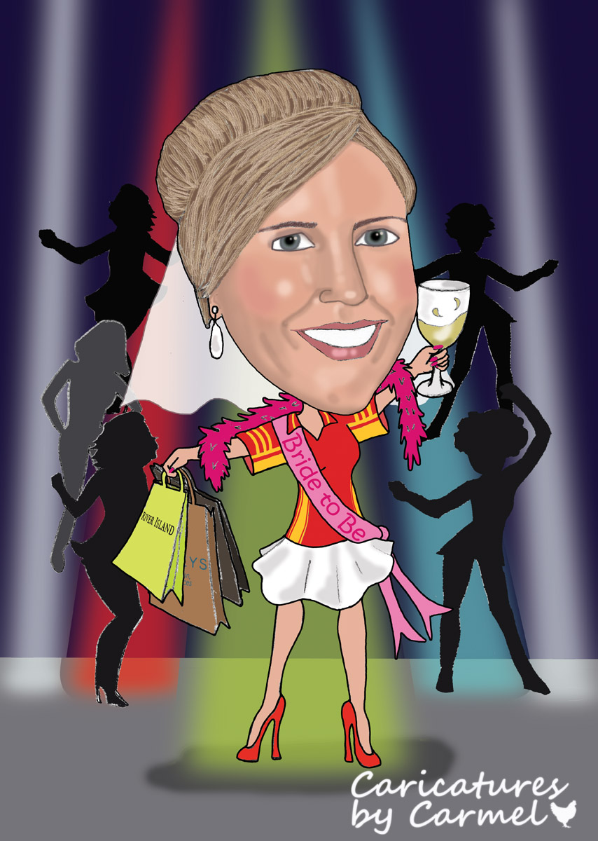Caricature of Sinead enjoying her Hen Party celebrations