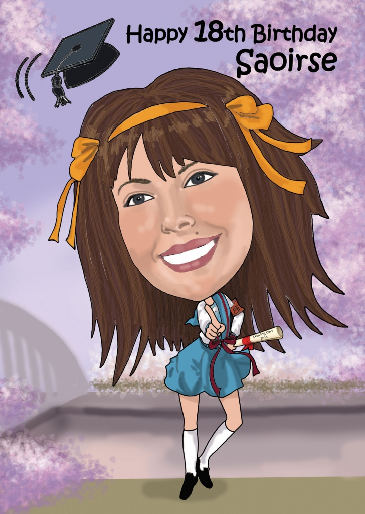 Caricature of Saoirse who loves Anime cartoons