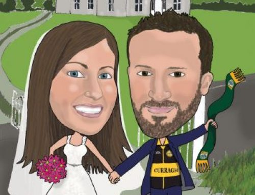 Wedding caricature guest signing board and Fr Ted