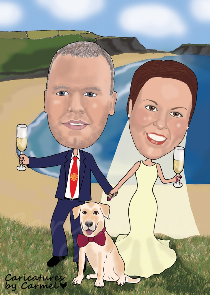 Bride & groom walking on the beach with their dog.