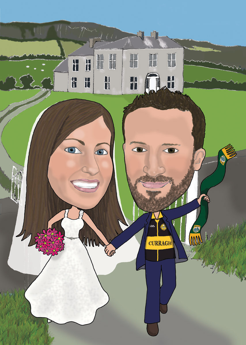 Bride & groom running from Fr Ted's house caricature