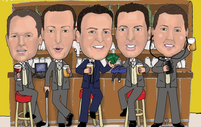 Groom with his brothers at the bar caricature