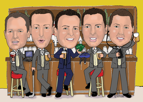Caricature of the groom David with all his brothers at the bar
