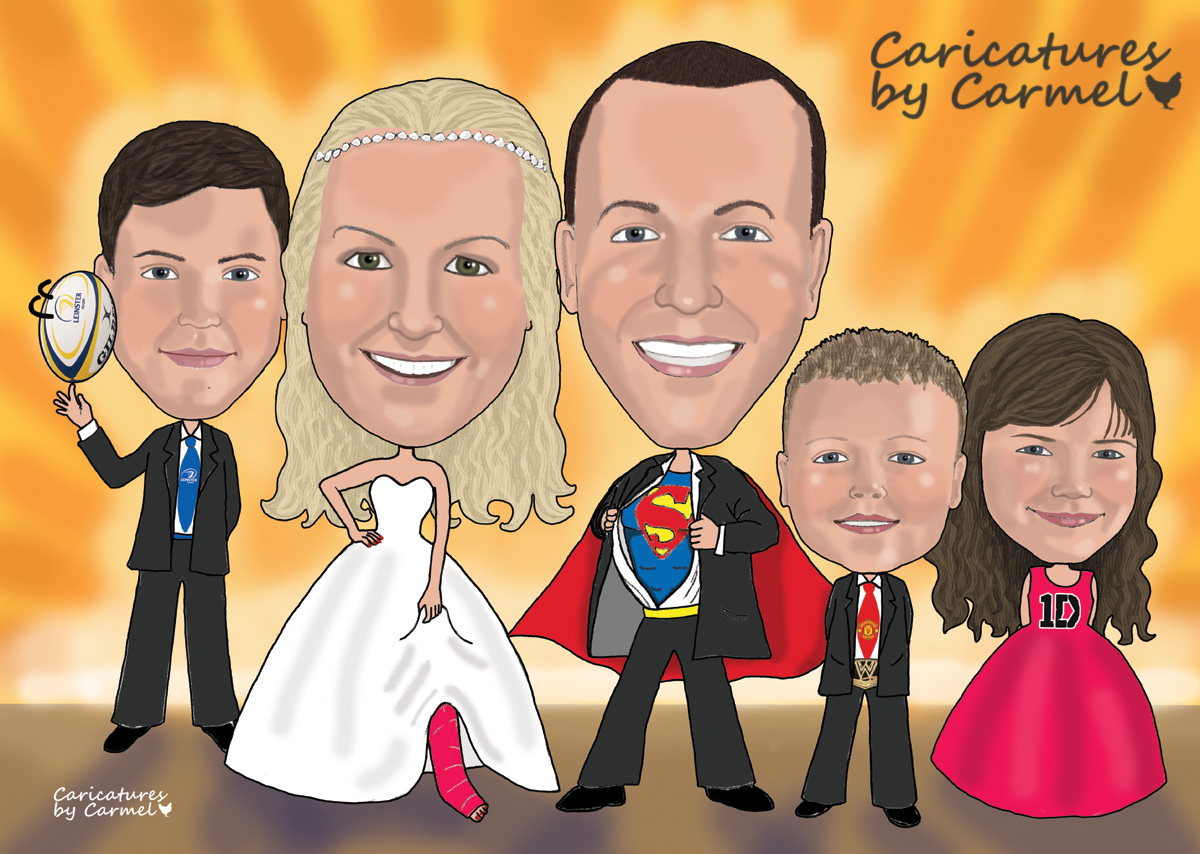 Superman and family caricature