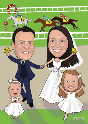 Caricature of a bride and groom at the horse races