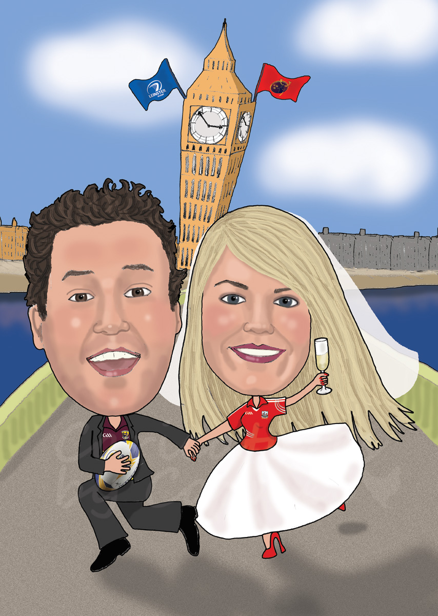 Bride from Cork & Groom from Wexford living in London. Wedding Caricature