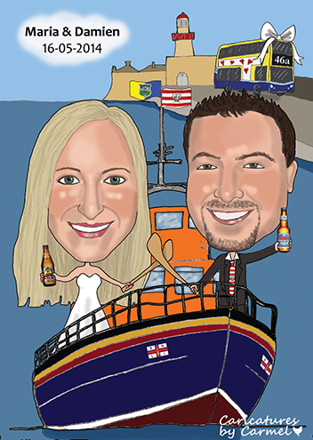 Caricature of bride & groom on an RNLI boat with hurleys.