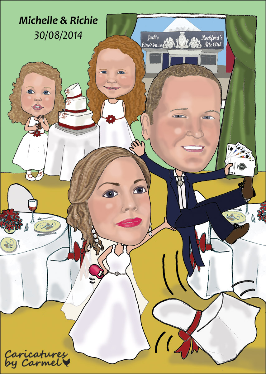 Bride lifting groom whose playing cards and the children in the back eating wedding cake caricature