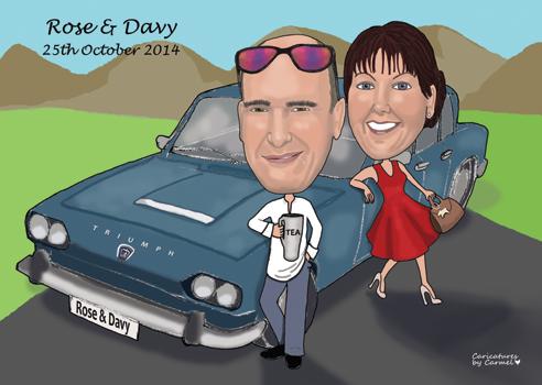 Classic Car Wedding Caricature