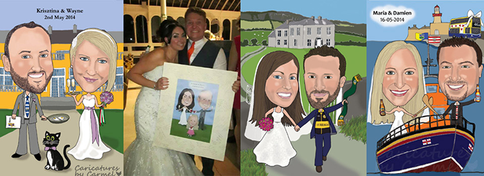 Caricatures created from photographs in Waterford City Ireland