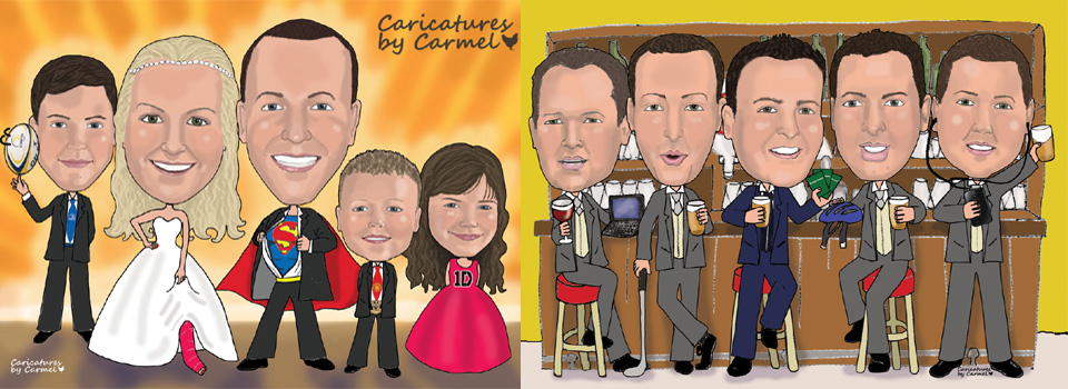 Caricatures for wedding party, groom and groomsmen, great gift ideas.