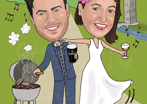 Wedding caricature for bride & groom who love to travel, bbq, drinking and dancing
