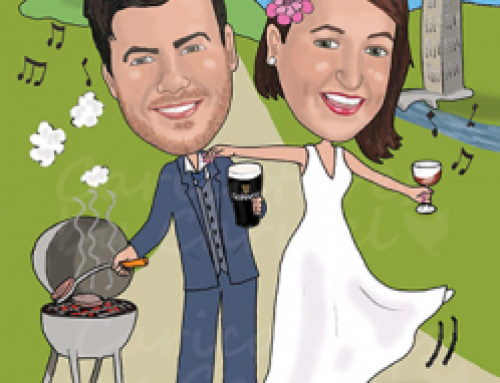 Wedding caricature for travel lovers