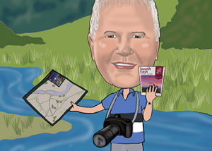 60th birthday caricature for amateur photographer in Waterford