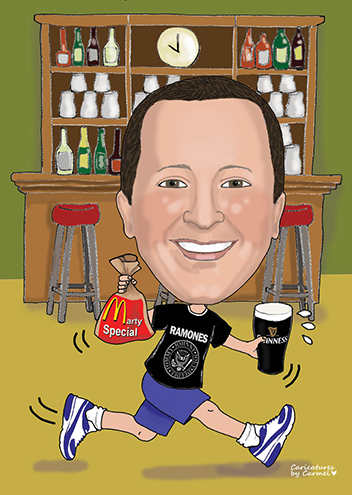 Caricature of Marty running through a bar with McDonalds bag & pint of Guinness in a Ramones T-Shirt.