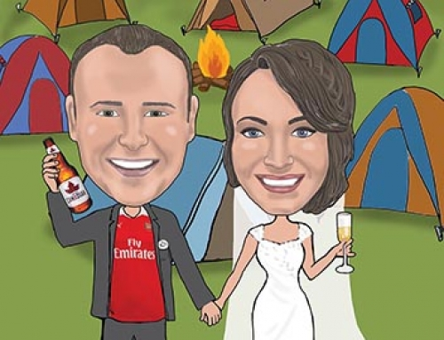 Campsite Wedding caricature