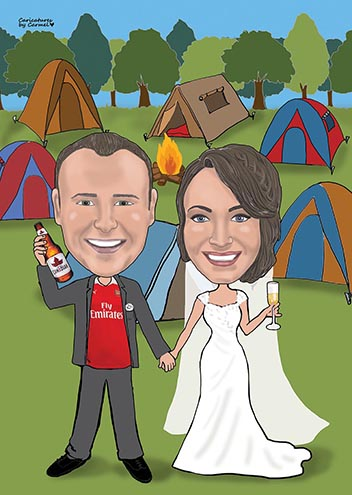 Scout leaders wedding caricature with campsite background