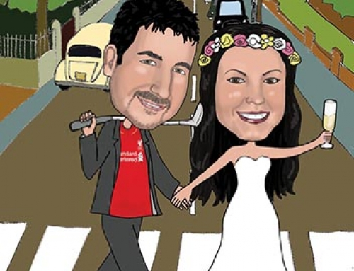 Wedding caricature for Beatles fans