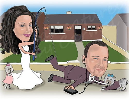 Bride & Groom with Fishing Rod Caricature