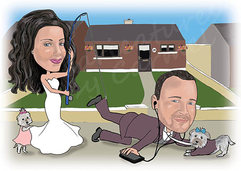 Bride catching the groom with a fishing rod caricature
