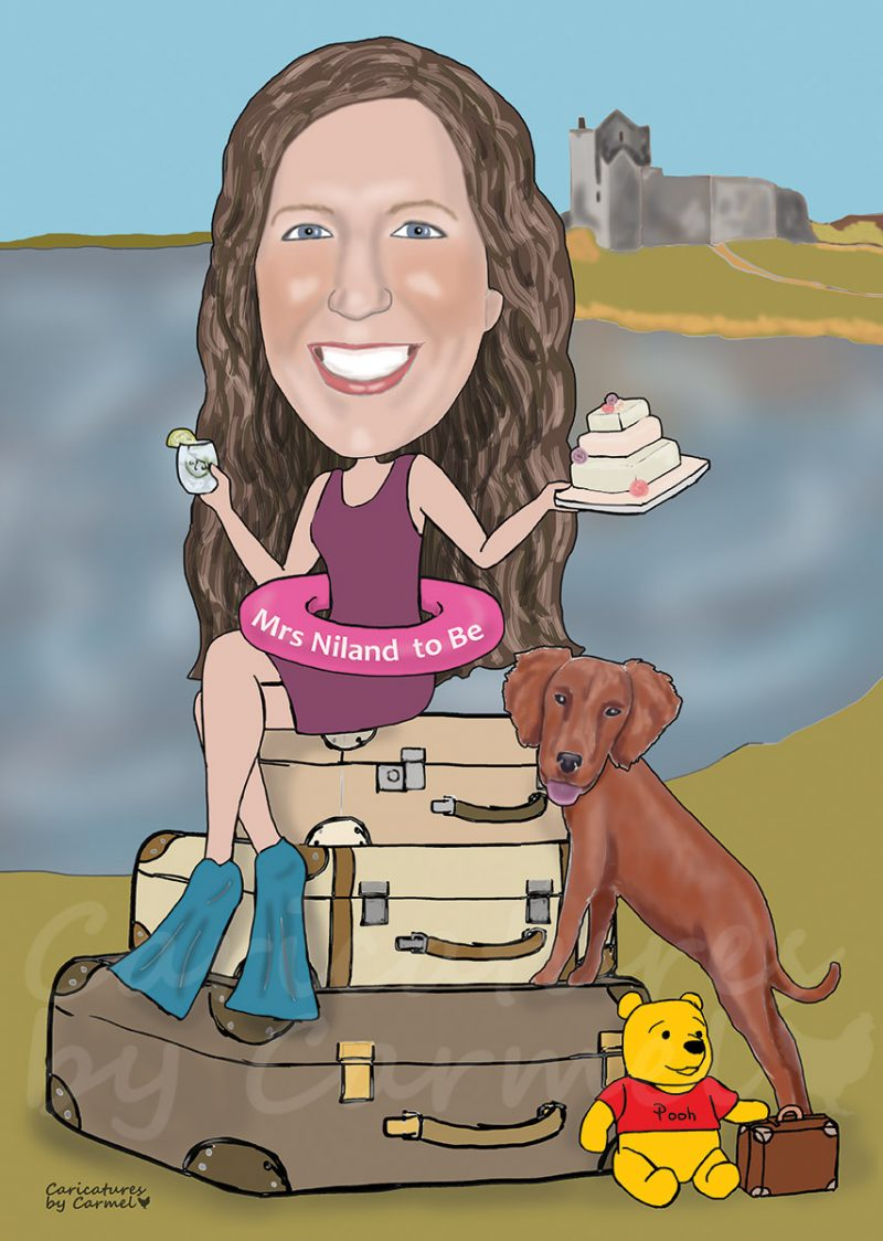 Hen party caricature for girl who likes to bake, travel swim and her dog.