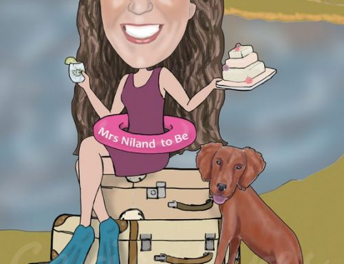 Hen party swimming caricature