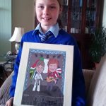 Amber with her caricature
