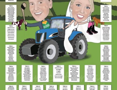 Farming themed caricature table plan