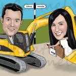 bride & groom with a digger caricature