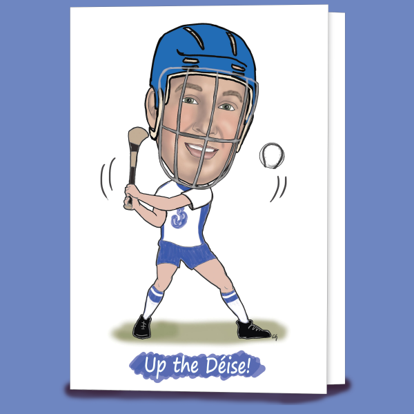 Caricature Waterford Hurling Card created by Caricatures by Carmel. Designed and printed in Ireland
