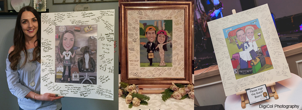 Caricature guest signing boards