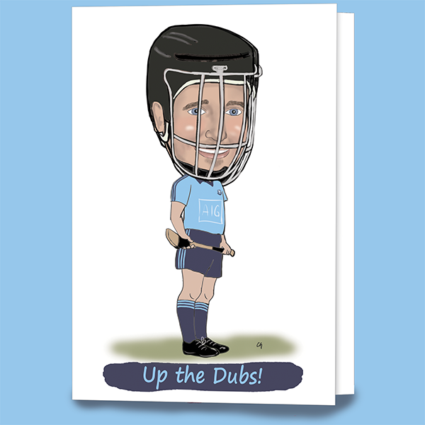 Dublin hurling greeting caricature card