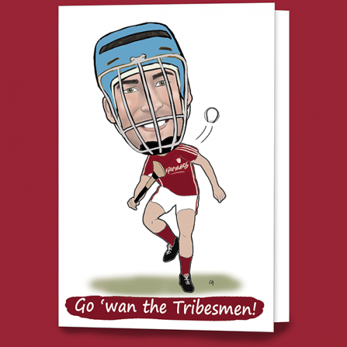 Galway hurling greeting caricature card