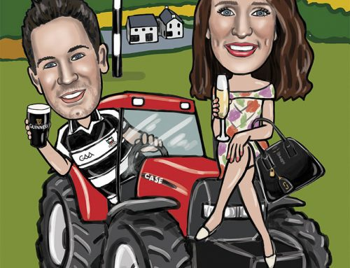Fun caricature created for an engagement gift